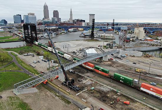 Construction of Cleveland Metroparks Wendy Park Bridge
